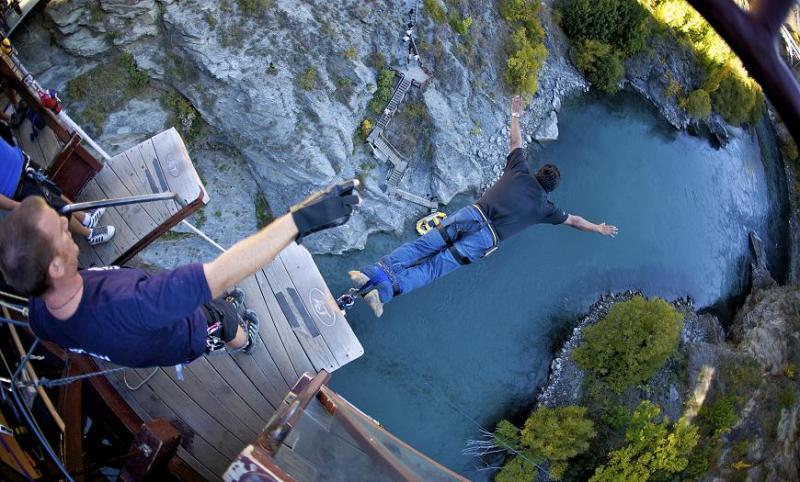Queenstown, New Zealand-Bungee at Kawarau Gorge Suspension Bridge