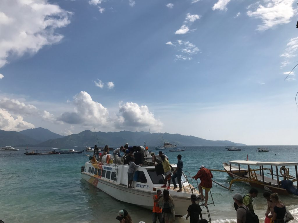 The only way to get to the Gili Island's is by ferry boat. You can take a fast ferry boat or, for a cheaper option, the public ferry