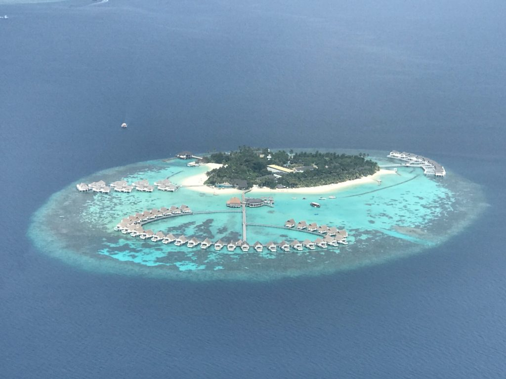 The Island Of Centara Grand Island Resort And Spa in the Maldives, as seen from above in a sea plane!