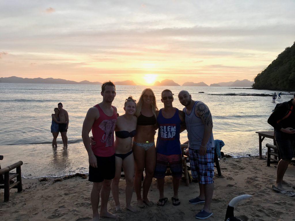 Sunset At Las Cabanas Beach In El Nido, Palawan