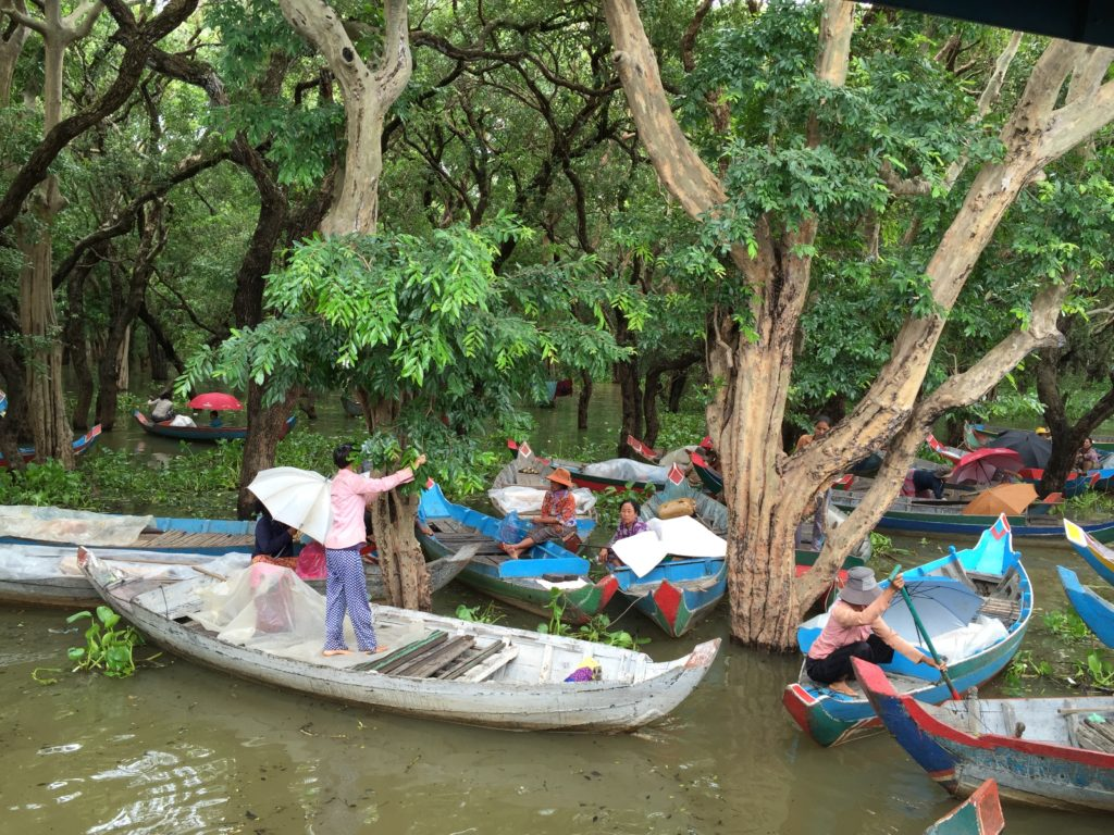 The Small Boat We Took Through The Floating Of Siem Reap, Cambodia