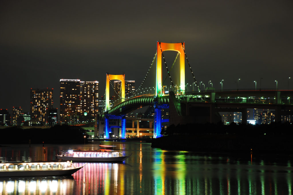 Be sure to see the Rainbow Bridge when visiting Tokyo, Japan!