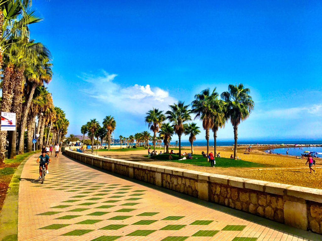 The Pathway Besides The Beach is Perfect For Walking, Running Or Bike Riding In Malaga, Spain
