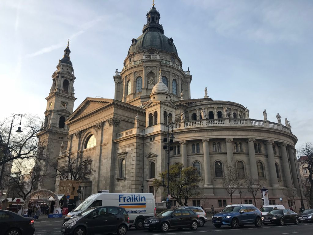 St. Steven's Basilica as seen from the outside in Budapest, Hungary