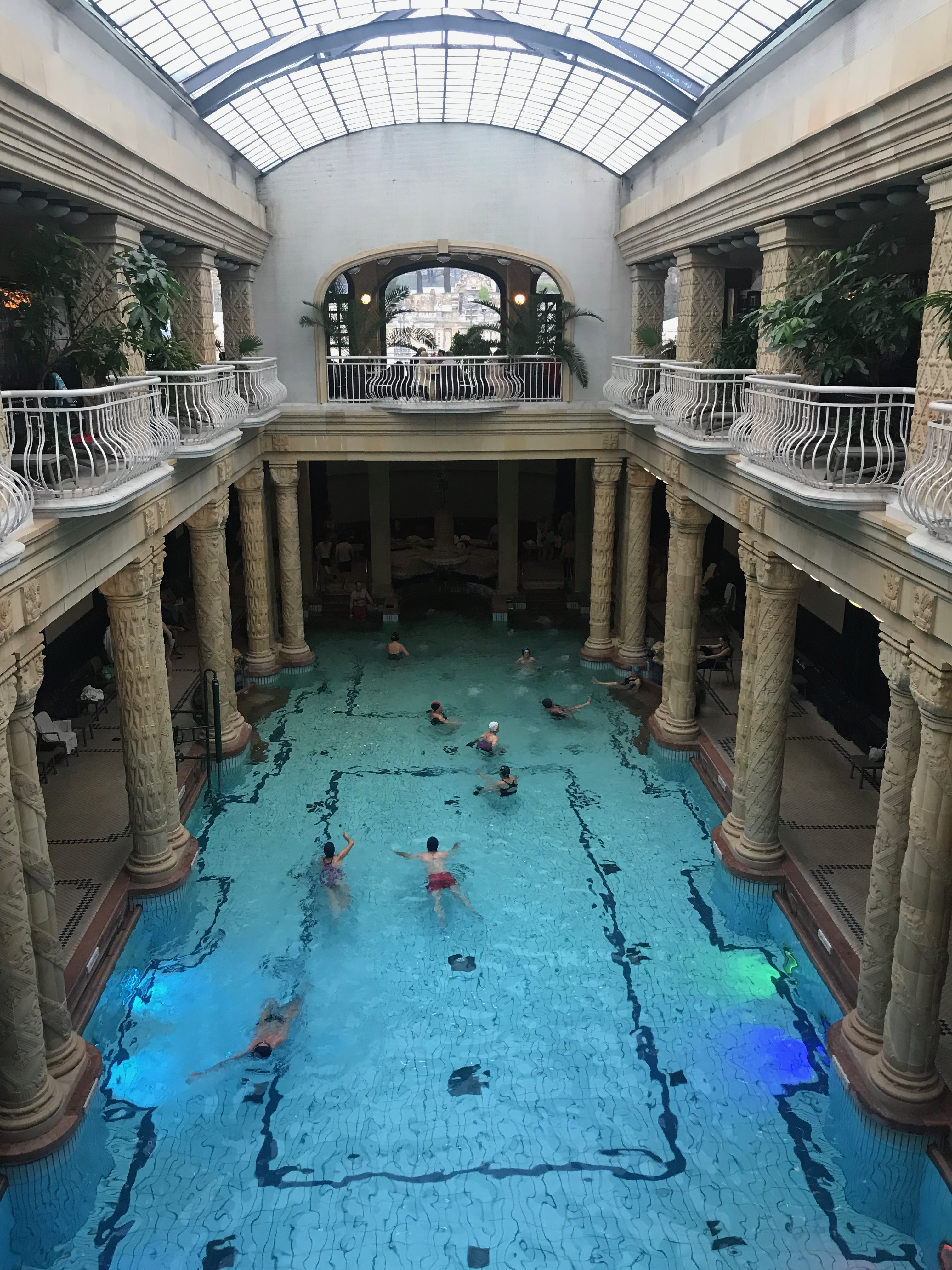 Gellert Spa in Budapest, Hungary, as seen from above the indoor swimming pool