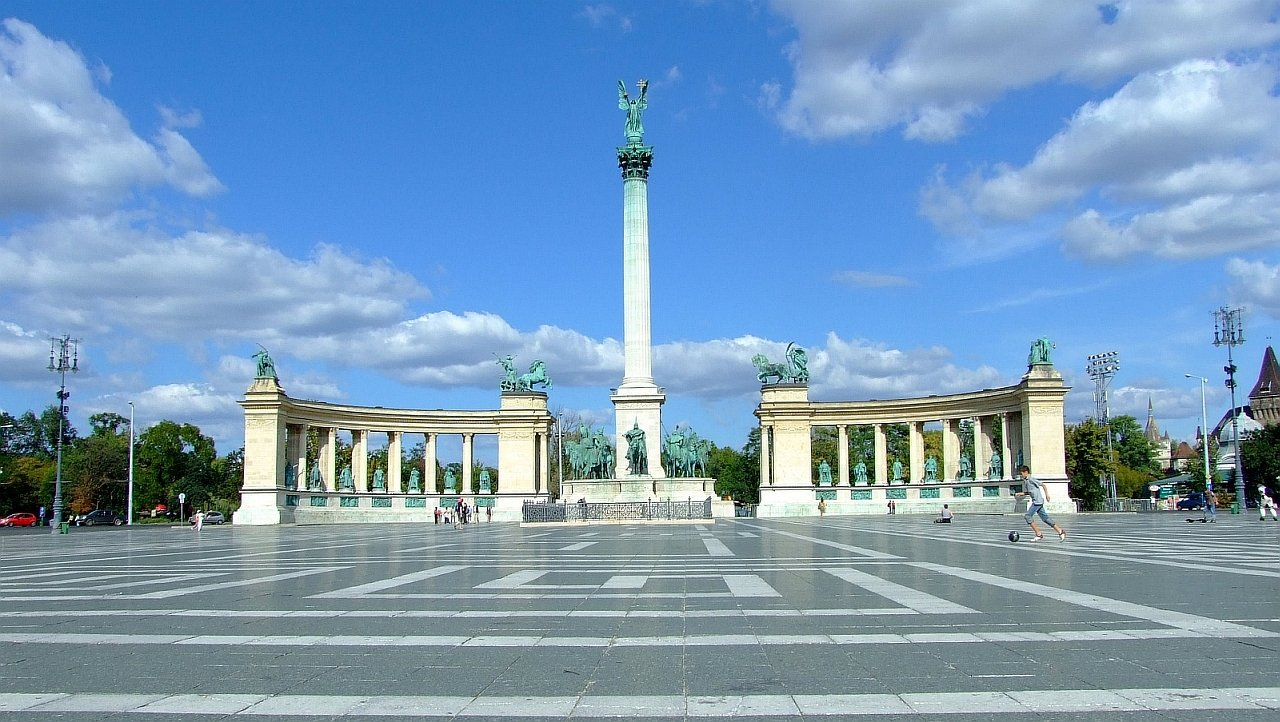 Heroes square is a historical site in Budapest, Hungary