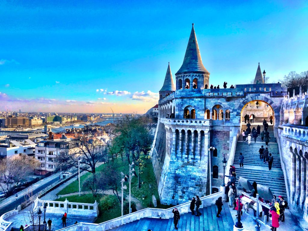 Fisherman's Bastion, located in Budapest, Hungary, offers pristine, white architecture all around