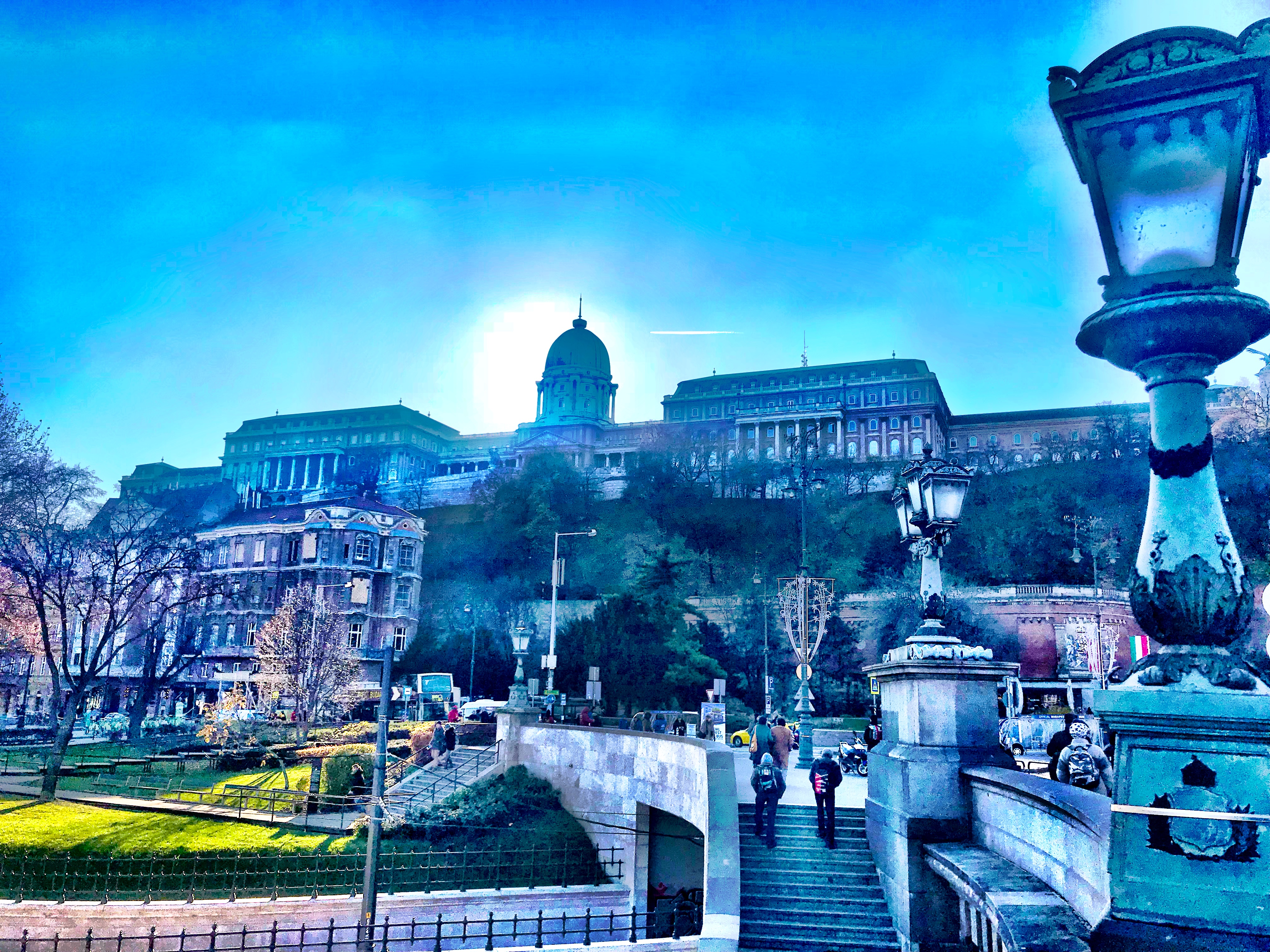 Buda Castle seen from the Széchenyi Chain Bridge in Budapest, Hungary