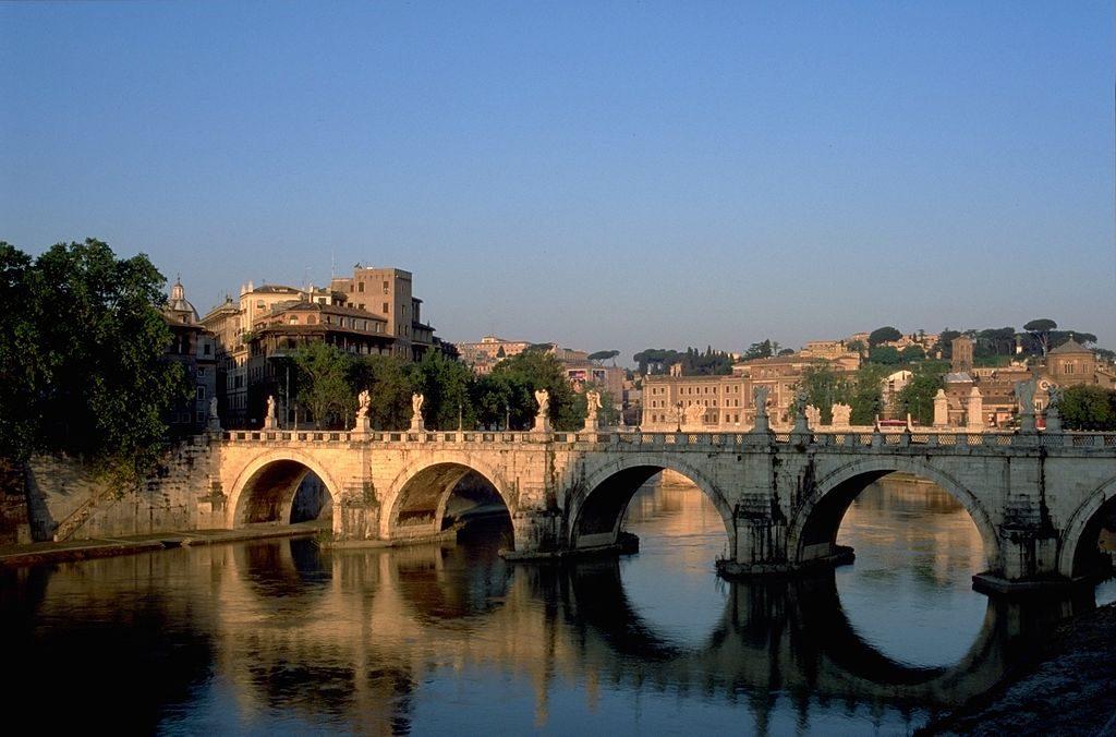 The iconic bridge of Ponte Sant'Angelo in Rome, Italy