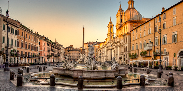 Piazza Navona is a great place to take a stroll, shop and relax in Rome, Italy