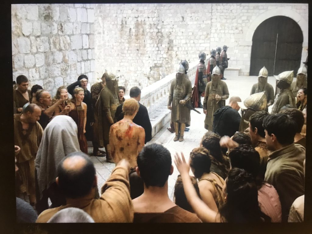 The iconic scene where Cersei finished her walk of shame through the streets of King's Landing was filmed at Ploce Gate in Old Town, Dubrovnik, Croatia