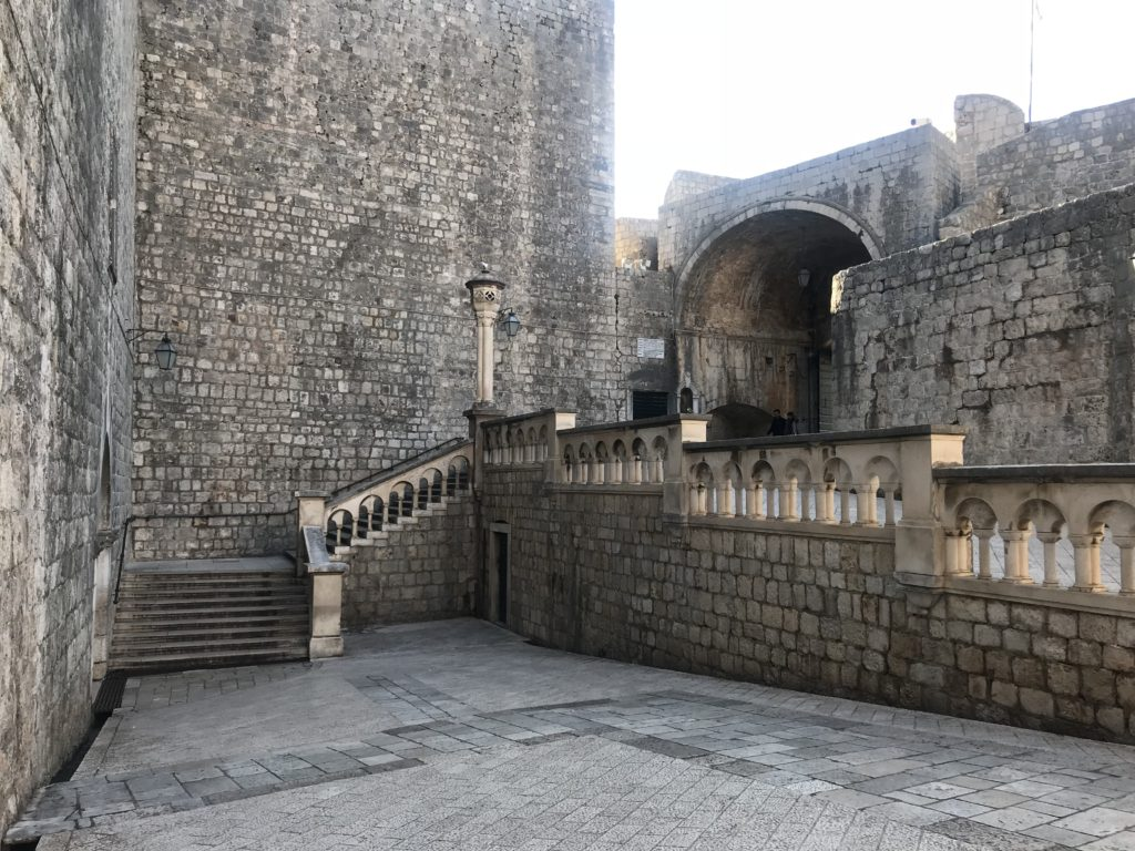 In Game of Thrones, where the people riot against King Joffrey in the street was filmed near the Pile Gate in Old Town, Dubrovnik, Croatia