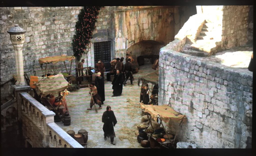 In Game of Thrones, the scene when Jamie Returns to King's Landing was filmed near the Pile Gate of Old Town in Dubrovnik, Croatia